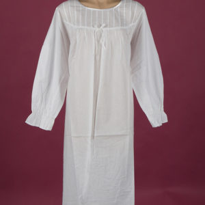 White cotton nightgown Pin tucks on bodice Full length sleeve, ¾ length, Star Dreamer, Dawhaven Australia
