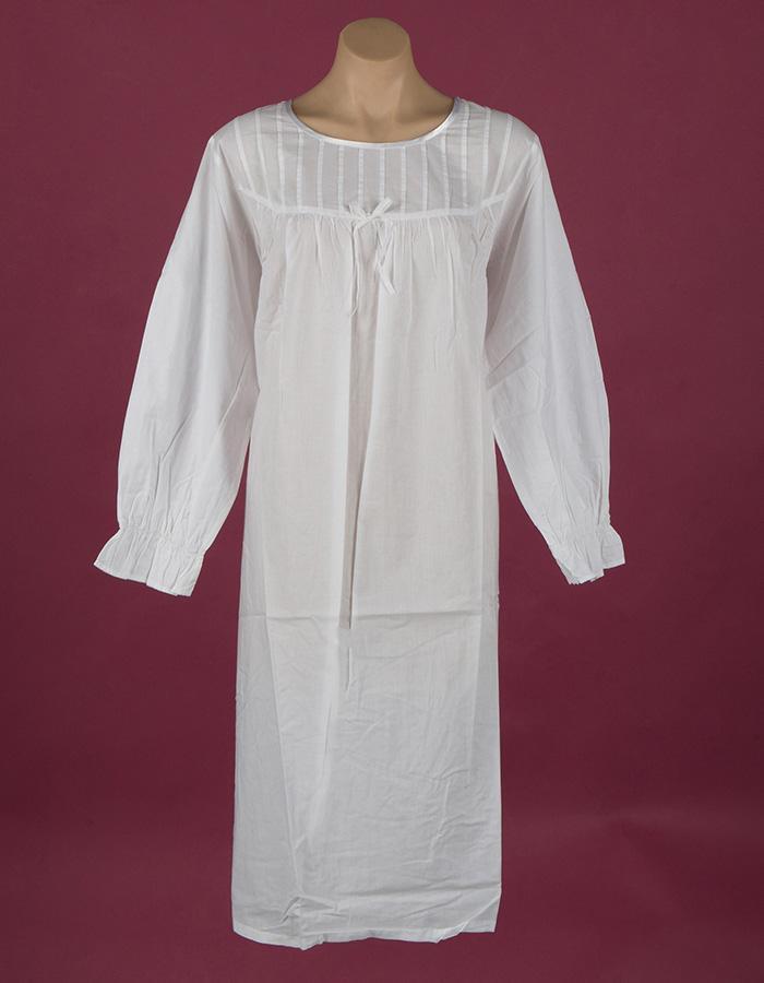 White cotton nightgown Pin tucks on bodice Full length sleeve, ¾ length, Star Dreamer, Dawhaven Australia