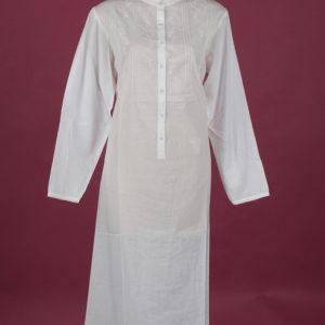 White cotton nightdress Embroidery on yoke & full length sleeve, ¾ length Star Dreamer, Dawhaven Australia