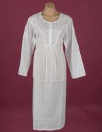 Star Dreamer White Cotton nightgown Flower embroidery on yoke & full length sleeve, ¾ length