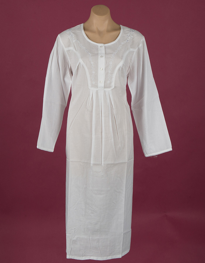 Star Dreamer White Cotton nightgown Flower embroidery on yoke & full length sleeve, ¾ length