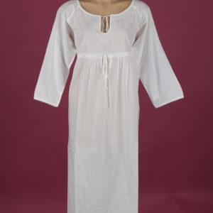 Star Dreamer White cotton nightdress Embroidery on bodice, keyhole neckline with ribbon, ¾ length sleeve, ¾ length, Star Dreamer, Dawhaven Australia