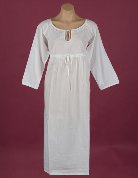 White cotton nightdress Embroidery on bodice, keyhole neckline with ribbon, ¾ length sleeve, ¾ length, Star Dreamer, Dawhaven Australia