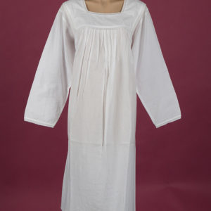 White cotton nightgown, square neckline Flower embroidery on yoke, cotton lace edging Full length sleeve, ¾ length