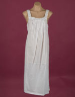 Sleeveless White cotton night gown, embroidery on yoke ¾ length Star Dreamer, Dawhaven Australia