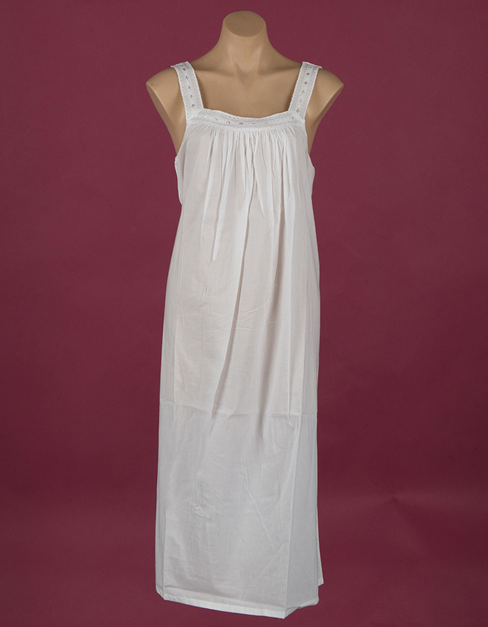 Sleeveless White cotton night gown, embroidery on yoke ¾ length Star Dreamer, Dawhaven Australia