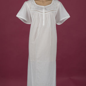 White cotton nightie Embroidery on yoke Small pearly buttons ¾ length Dawhaven Australia Star Dreamer