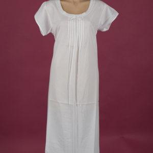 Star Dreamer White cotton night dress, pin-tucked bodice Cap sleeves ¾ length Star Dreamer