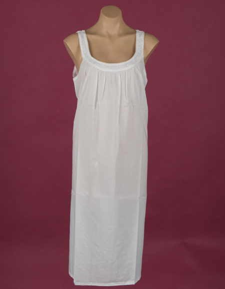 Sleeveless White 100% cotton night gown Embroidery on yoke ¾ length