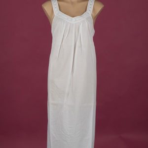 White cotton nightgown Embroidery on bodice ¾ length Star Dreamer Dawhaven Australia