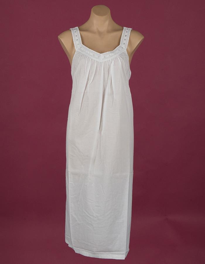Star Dreamer White cotton nightgown Embroidery on bodice ¾ length Star Dreamer Dawhaven Australia