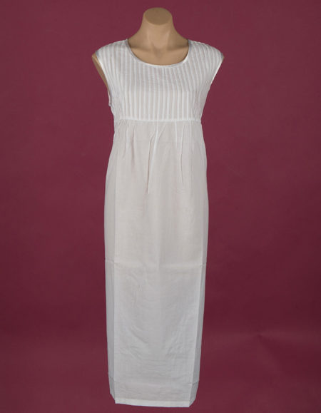 White cotton nightgown Pin-tucked & satin edged bodice ¾ length Star Dreamer