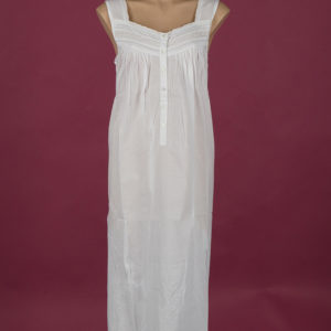 White Cotton nightdress, embroidery on yoke ¾ length Star Dreamer
