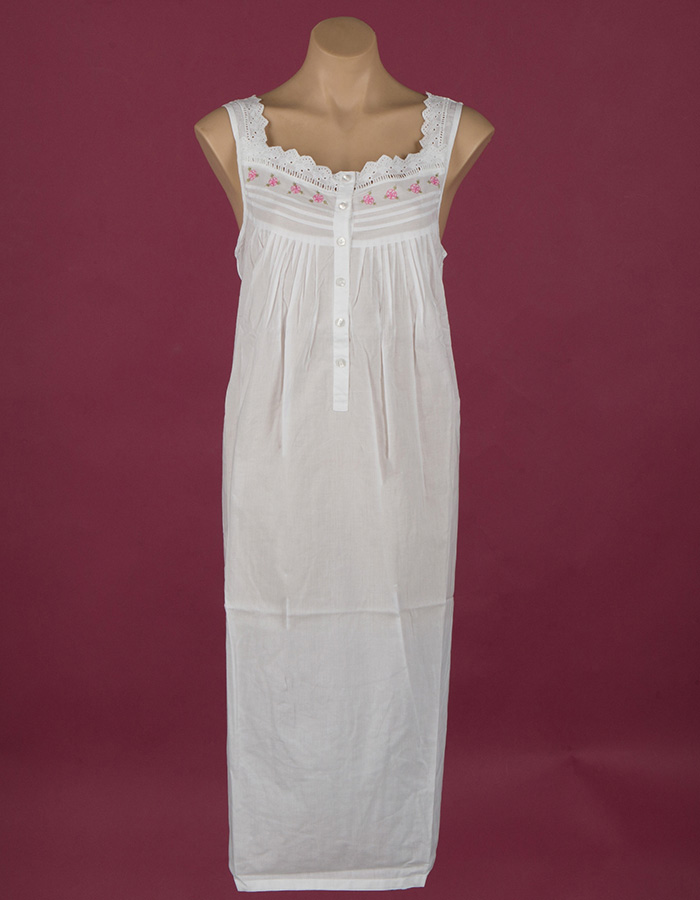 White cotton nightgown. Pink rose embroidery on yoke, ¾ length Star Dreamer