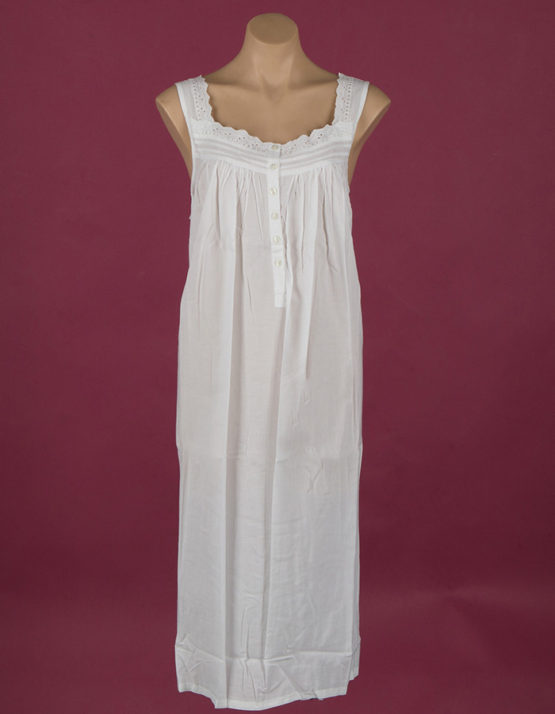 long sleeveless cotton nightdress, ribbon, embroidery and button through front Star Dreamer