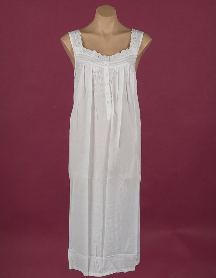 Star Dreamer long sleeveless cotton nightdress, ribbon, embroidery and button through front Star Dreamer