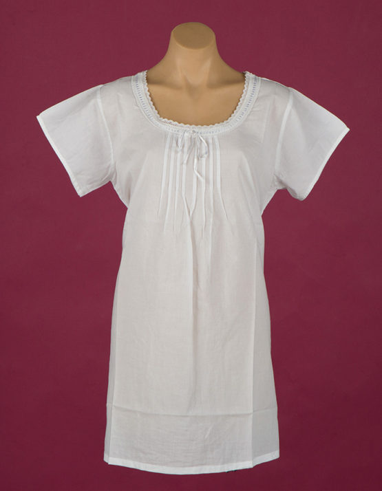 short Star Dreamer 100% white cotton nightgown, white satin ribbon, cap sleeves. Dawhaven Australia