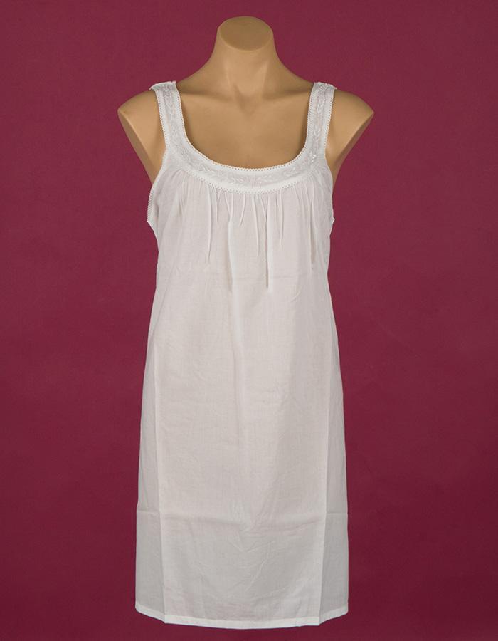 short Star Dreamer 100% cotton nightgown, white embroidery, sleeveless. Dawhaven Australia