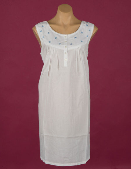 **The Blue Star** short 100% cotton nightgown, blue stars. Star Dreamer Dawhaven Australia