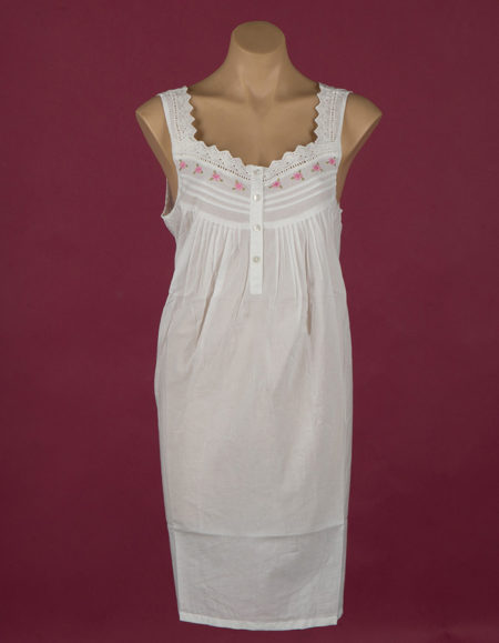 Short, white cotton nightgown. Pink rose embroidery on yoke. Star Dreamer.